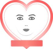 Female face in a heart with empty pink copy space Royalty Free Stock Image