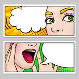 Female Face Horizontal Banners Stock Image