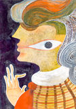 Female face illustration. Female face painting in watercolour, symbolic meaning, no physical eyes, but the third eye plain in the cheek Stock Image