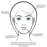 Female face information poster design Stock Image