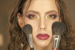 Female Face. Issues affecting girls. Beauty woman with makeup brushes, visage. Beauty model apply powder on face.  Royalty Free Stock Photography