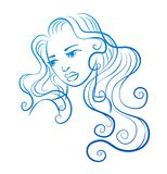 Female face with long curly hair Royalty Free Stock Photos