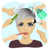 Female face and many hands making different beauty salon services. Design for beauty salons and beauty industry Royalty Free Stock Images
