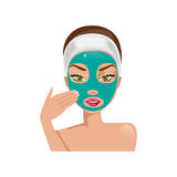 Female face with a mask. Vector illustration Stock Photography
