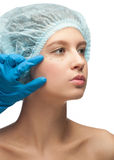 Female face before plastic surgery operation Royalty Free Stock Images