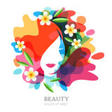 Female face and plumeria flowers on multicolor splash background. Vector abstract multiple exposure illustration, isolated. Royalty Free Stock Images