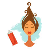 Female face with raised hair and bottle spraying on it. Female face with raised brown hair and red cosmetic bottle with special liquid spraying on it isolated on Stock Photos