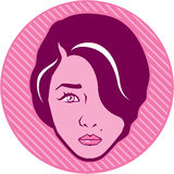 Female face retro vector Stock Photo