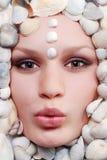Female face with seashel Royalty Free Stock Photos