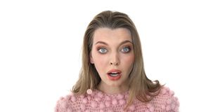 Female Face in Shock in pink Close Up Royalty Free Stock Photo