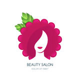 Female face silhouette on flower or raspberry background. Negative space vector logo design. Concept for beauty salon, cosmetics labels, massage and spa Stock Photography