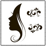 Female face silhouette in profile. Stock Image