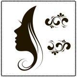 Female face silhouette in profile. Stock Image