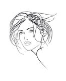 Female face sketch Stock Images