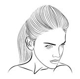 Female face sketch royalty free stock photos