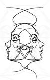 Female face and skull tattoo, vector Stock Image