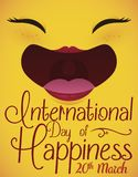 Female Face Smiling ready to Celebrate International Day of Happiness, Vector Illustration. Female joy expression laughing because it`s happy with greeting and royalty free illustration