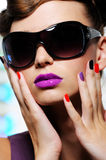 Female face with stylish sunglasses Royalty Free Stock Photo