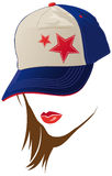 Female face with USA cap royalty free illustration