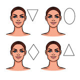 Female face of various types of appearance Stock Photos