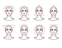 Female face of various types of appearance Royalty Free Stock Images