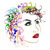 Female face on white background vector illustration Stock Images