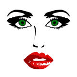 Female face on white background vector illustration Royalty Free Stock Photo