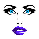 Female face on white background vector illustration Royalty Free Stock Images