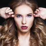 Female Face. Woman with Fashion Hairstyle and Makeup Stock Photos