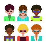 Women and young girls with various hairstyles in colorful clothes. The female face. Women and beautiful young girls with different skin colors, various Royalty Free Stock Images
