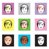 Female faces. Set of illustrated female faces in different colors Stock Image