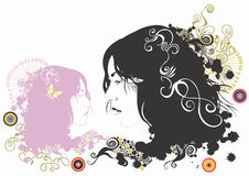 Female faces. Illustration of female faces and decorative patterns stock illustration