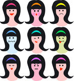 Female faces/emotions/eps. Nine simple illustrations of a female face showing different emotions or moods...eps available royalty free illustration