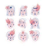 Female faces icons, Informal girls Feminism. Unique hand drawn style, Women`s faces, Vector illustration. Female faces icons, Informal girls Feminism. Unique vector illustration