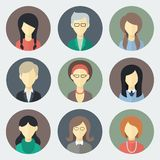 Female Faces Icons Set Royalty Free Stock Photography