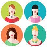 Female faces icons set. Female faces flat icons set Royalty Free Stock Photo