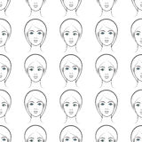 Female faces seamless pattern Royalty Free Stock Photos