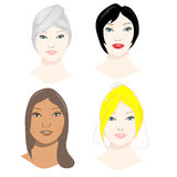Female faces set. Vector set of beautiful girl faces Royalty Free Stock Photography