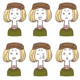 Female facial expressions wearing a hunting cap 6 types. The images of Female facial expressions wearing a hunting cap 6 types royalty free illustration