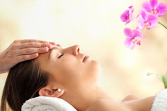 Female Facial massage in spa. Stock Images