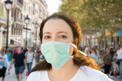 Female facing pollution Stock Photos