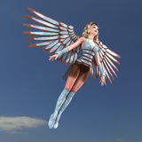 Female Fantasy Angel with huge wings. 3D rendering with clipping path and shadow over white Stock Photos