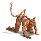 Female Fantasy Figure Tiger. 3D rendering with clipping path and shadow over white Stock Images