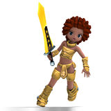 Female fantasy manga knight as a cartoon guard. Royalty Free Stock Images