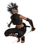 Female Fantasy Ninja - crouching Royalty Free Stock Images