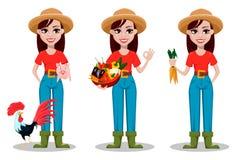 Female farmer cartoon character, set of three poses. royalty free illustration