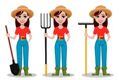 Female farmer cartoon character, set of three poses royalty free illustration