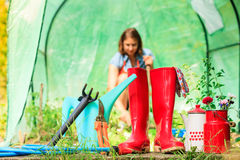 Female farmer and gardening tools in garden Stock Image