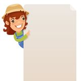 Female Farmer looking at blank poster Royalty Free Stock Photography