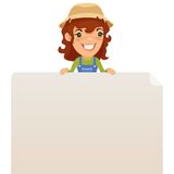 Female Farmer looking at Blank Poster on Top Stock Photography